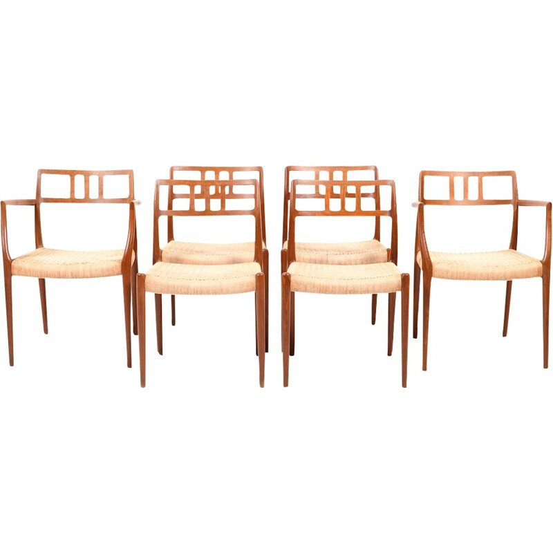Set of 6 dining chairs in teak by Niels O. Moller - 1960s