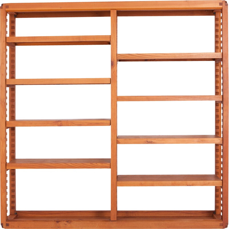 Vintage modular bookcase in elm by Pierre Chapo - 1960s