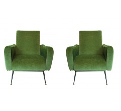 Pair of vintage armchairs in metal and green velvet fabric - 1950s
