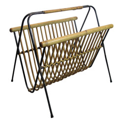 Magazine rack in rattan, steel and bamboo - 1950s