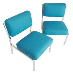 Pair of low chairs in metal and blue wool - 1980s
