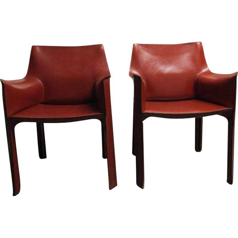 Armchair 413 CAB by Mario Bellini in red brown leather for Cassina - 1960s