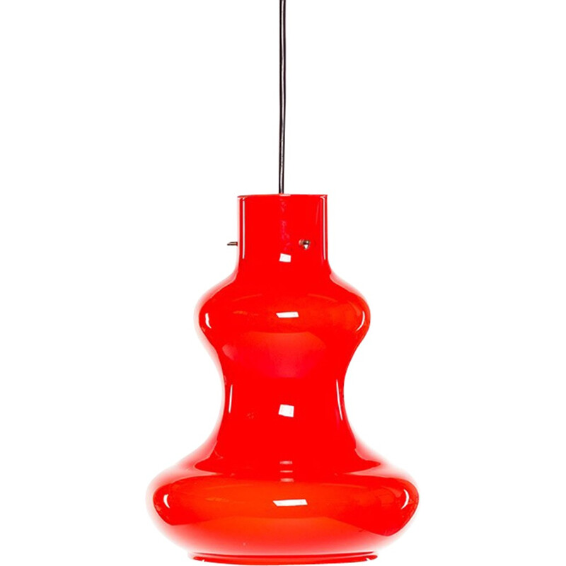 Vintage Italian red glass pendant lamp by Massimo Vignelli for Vistosi - 1960s