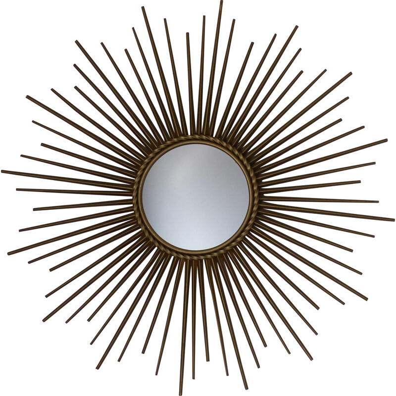 Vintage large sun mirror by Chatty Vallauris - 1950s