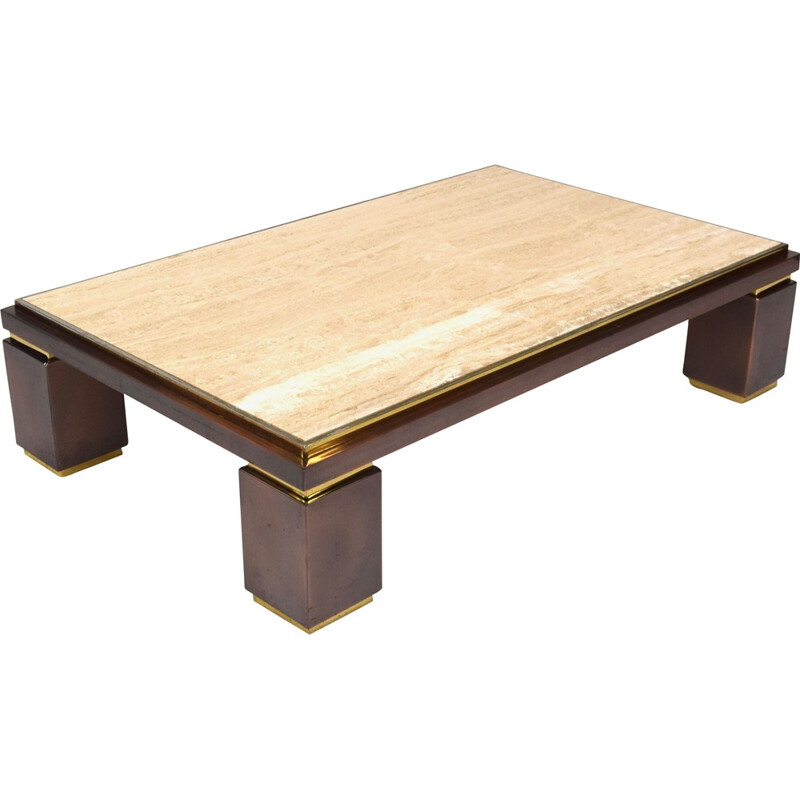 Vintage coffee table in travertine for Belgo Chrom - 1970s