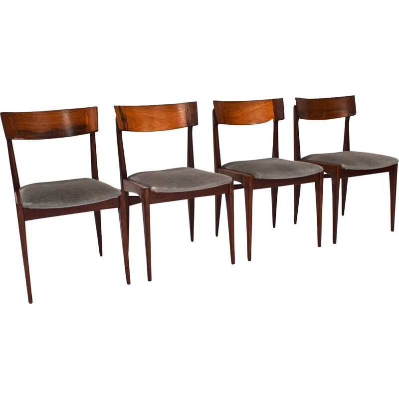 Set of 4 Scandinavian dining chairs in rosewood - 1950s