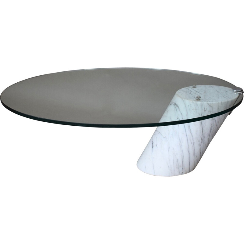 Vintage Italian coffee table in Carrara marble - 1970s