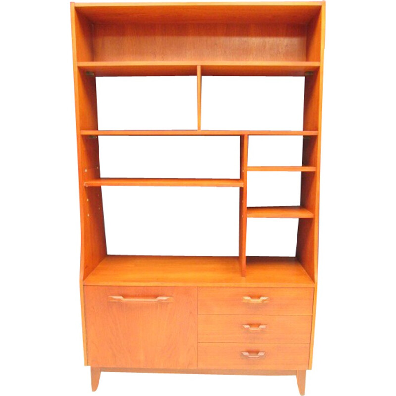 Vintage double-sided teak bookcase - 1960s