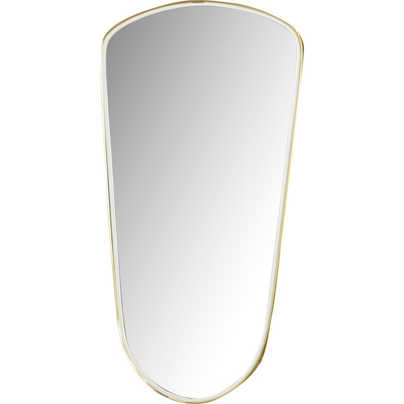 Vintage rearview mirror in gold and black edging - 1950s