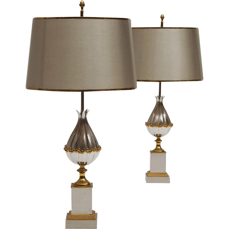 "Set of 2 ""Lotus"" Table Lamps in Gilt Bronze by Maison Charles - 1960s"