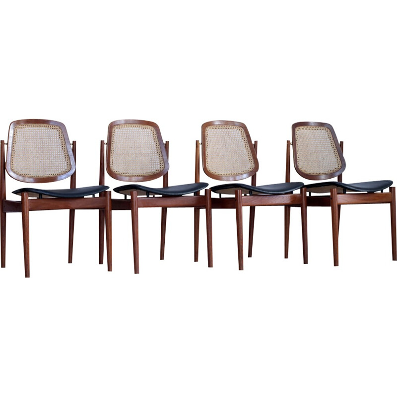 Vintage set of 4 teak chairs by Arne Vodder for France & Son - 1960s