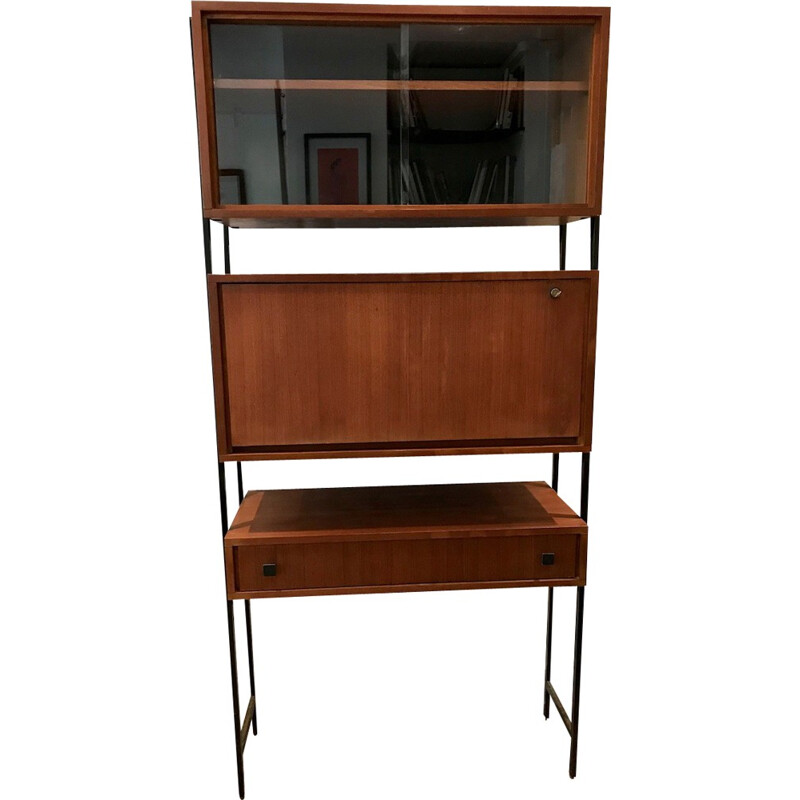Vintage wall-mounted secretary in teak - 1960s