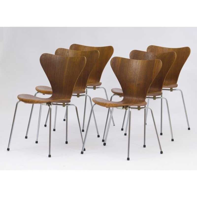 Set Of 6 Chairs Series 7 By Fritz Hansen For Arne Jacobsen 1960s
