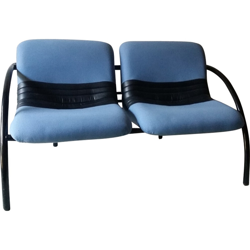 Vintage 2 seater sofa in blue fabric and black leatherette - 1980s