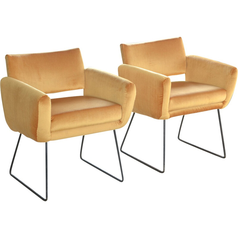 "Vintage pair of armchairs ""763"" by Joseph André Motte for Steiner - 1950s"