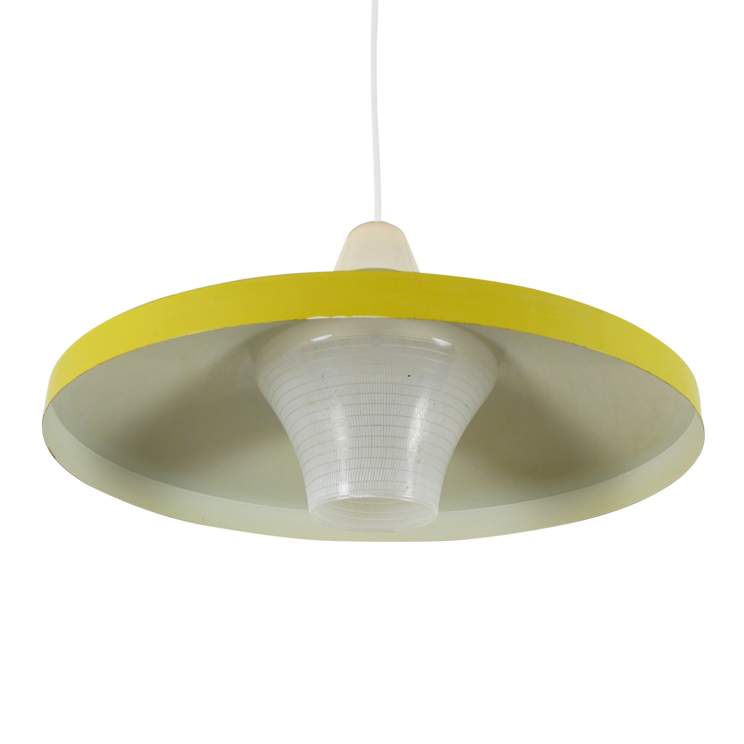 Bright Yellow Pendant Light With Patterned Glass Shade