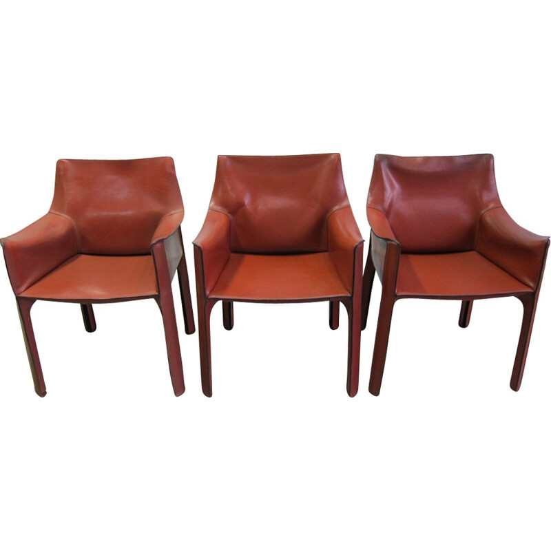 Cassina CAB 413 leather armchairs by Mario Bellini - 1970s