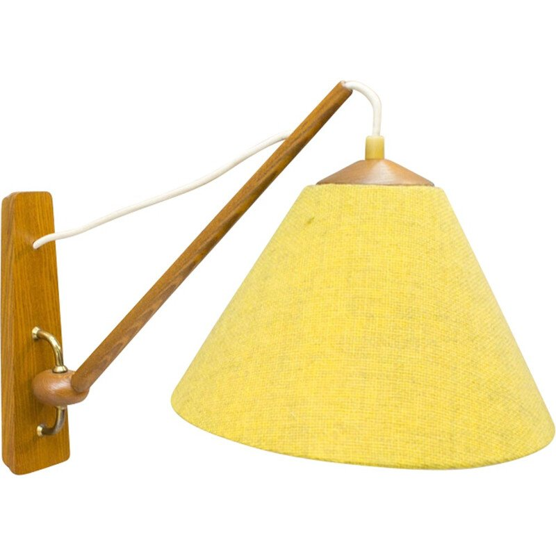 Vintage Scandinavian wooden wall lamp - 1950s