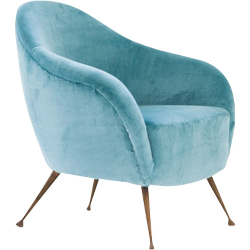 Italian Armchair With Turquoise Velvet Fabric And Brass Legs   1950s