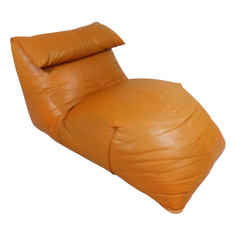 Lounge chair in cognac leather, Mario BELLINI - 1970s