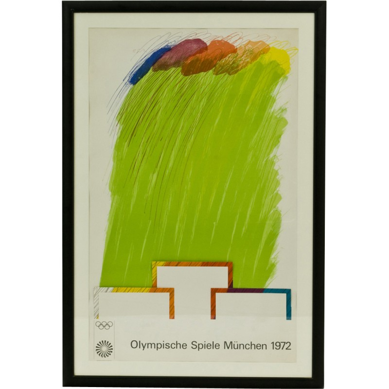 Glass-made poster fom the Olympic games of Munich - 1970s