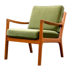 Armchairs in teak and green fabric, Ole WANSCHER - 1950s