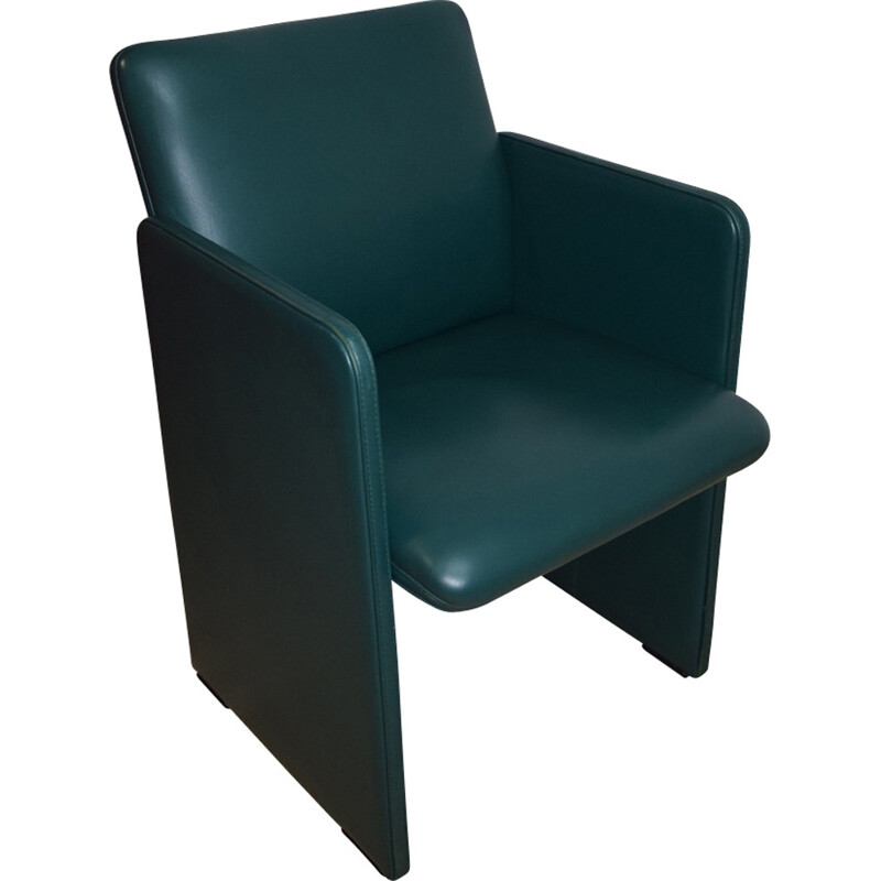 Vintage armchair in green leather by Luigi Massoni - 1970s