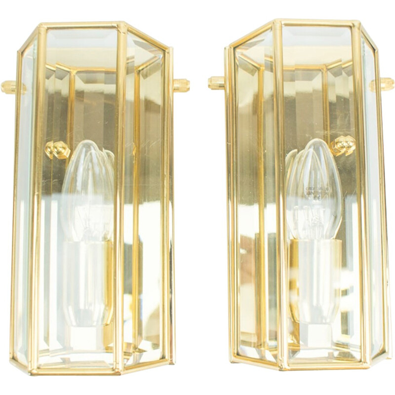 Set of 2 Golden Wall Lamps from Limburg - 1960s