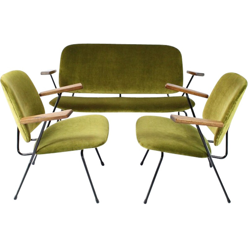 Vintage green living room set by WH Gispen for Kembo - 1950s