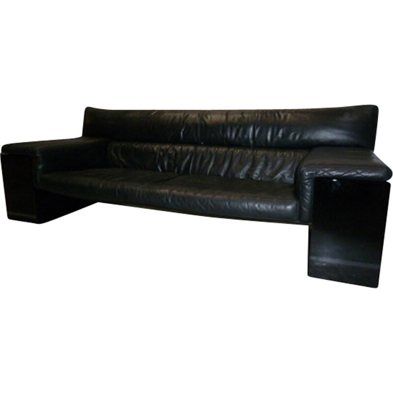 Black leather vintage sofa by Cini Boeri for Knoll - 1970s