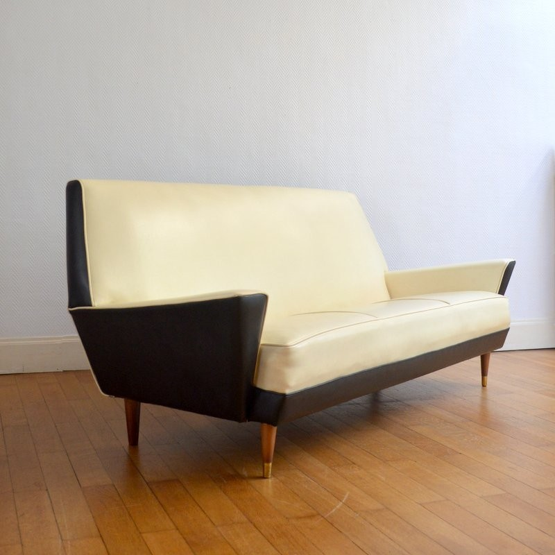 Marvelous Vintage Sofa With Brass Legs For Medal Belgium 1950S Home Interior And Landscaping Transignezvosmurscom