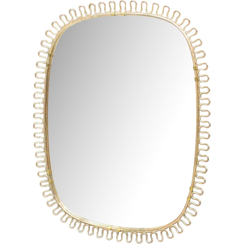 Brass Wall Vintage Mirror by Josef Frank for Svenskt Tenn - 1950s