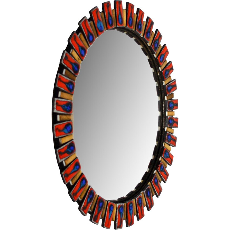 Ceramic and glass Vintage mirror curved with witch eye - 1960s