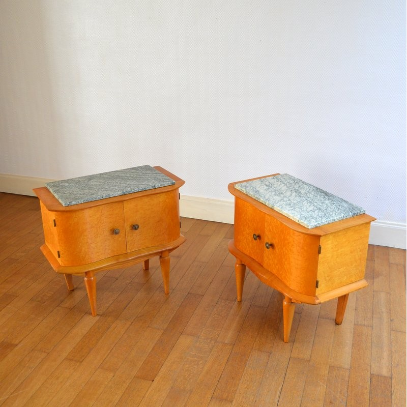 Vintage Pair Of Bedside Tables Lacquered In Maple Wood 1950s