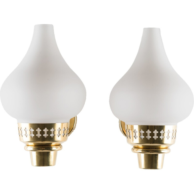 Swedish Wall Lamps in Brass and Opaline Glass by Hans Bergström for ASEA - 1950s