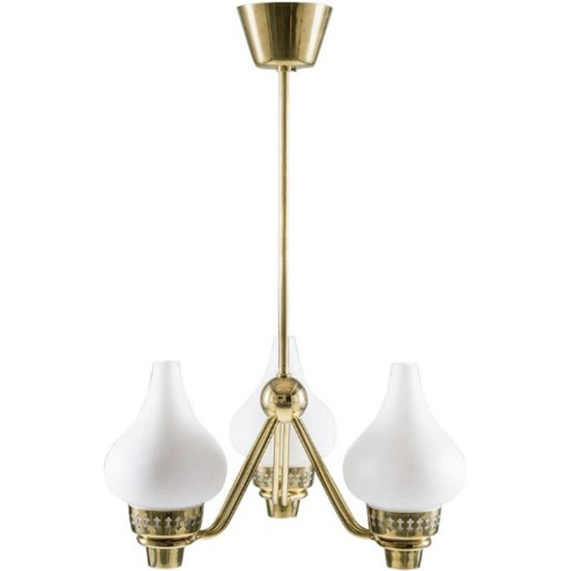 Vintage Swedish Chandelier in Brass and Opaline Glass by Hans Bergström for ASEA - 1950s