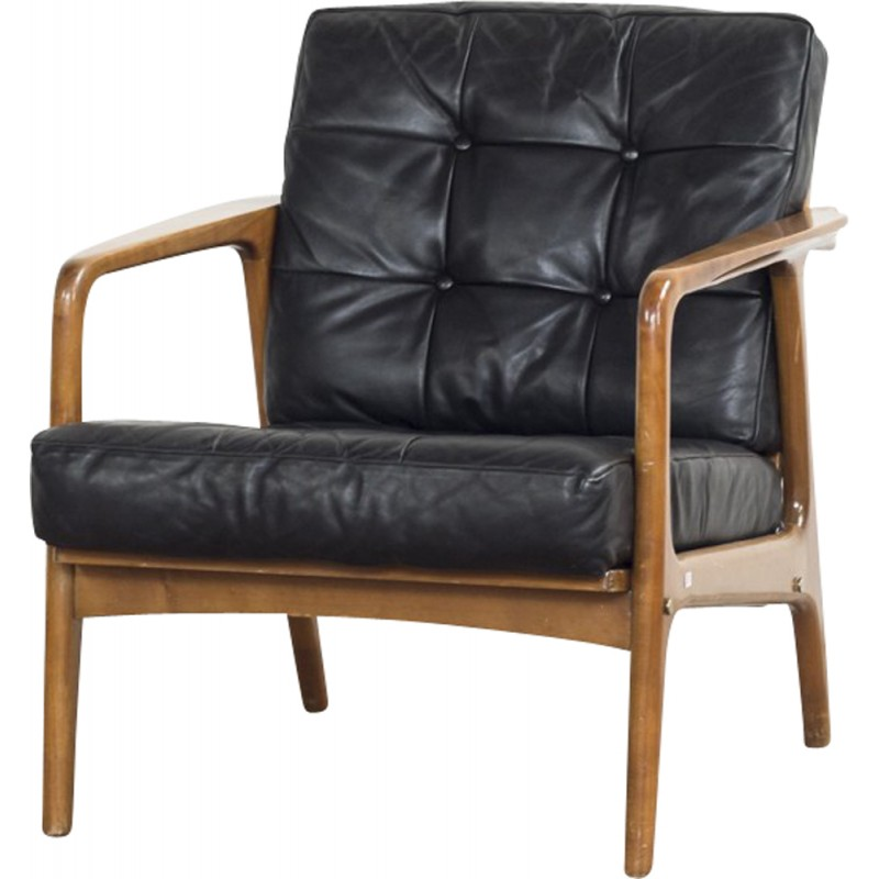 Danish Vintage Easy Chair In Beech And Black Leather 1960s