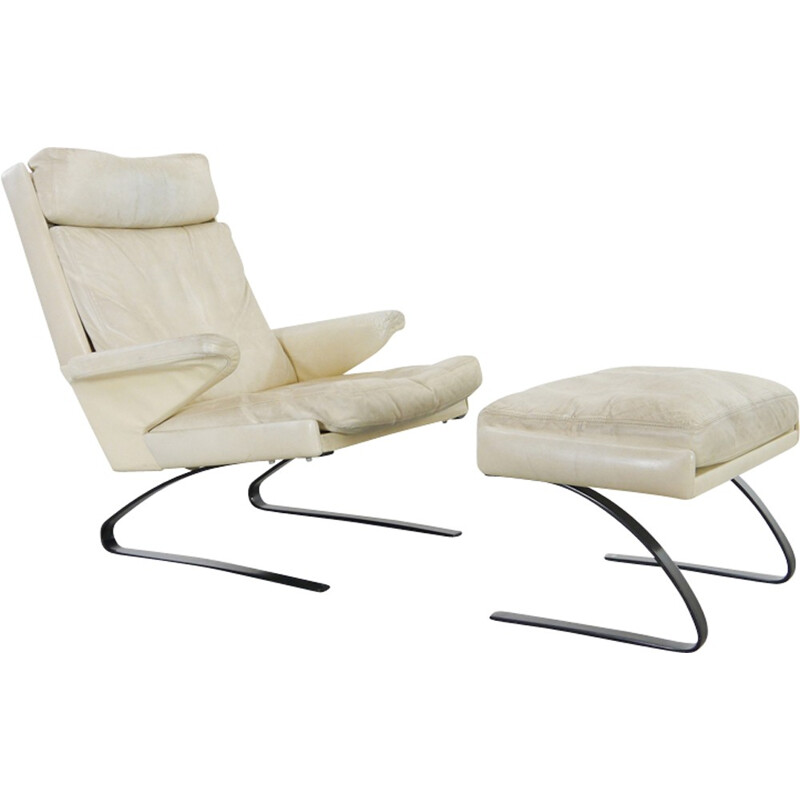 Vintage Lounge Chair with Ottoman in letaher by COR- 1970s