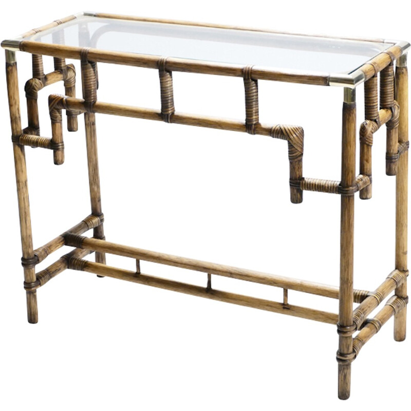 Vintage Bamboo and brass Console - 1970s
