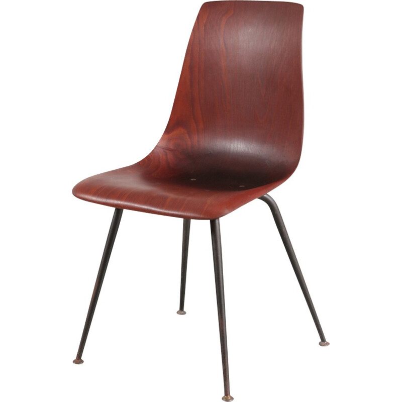 Vintage dining chair in wood by Pierre Paulin - 1950s