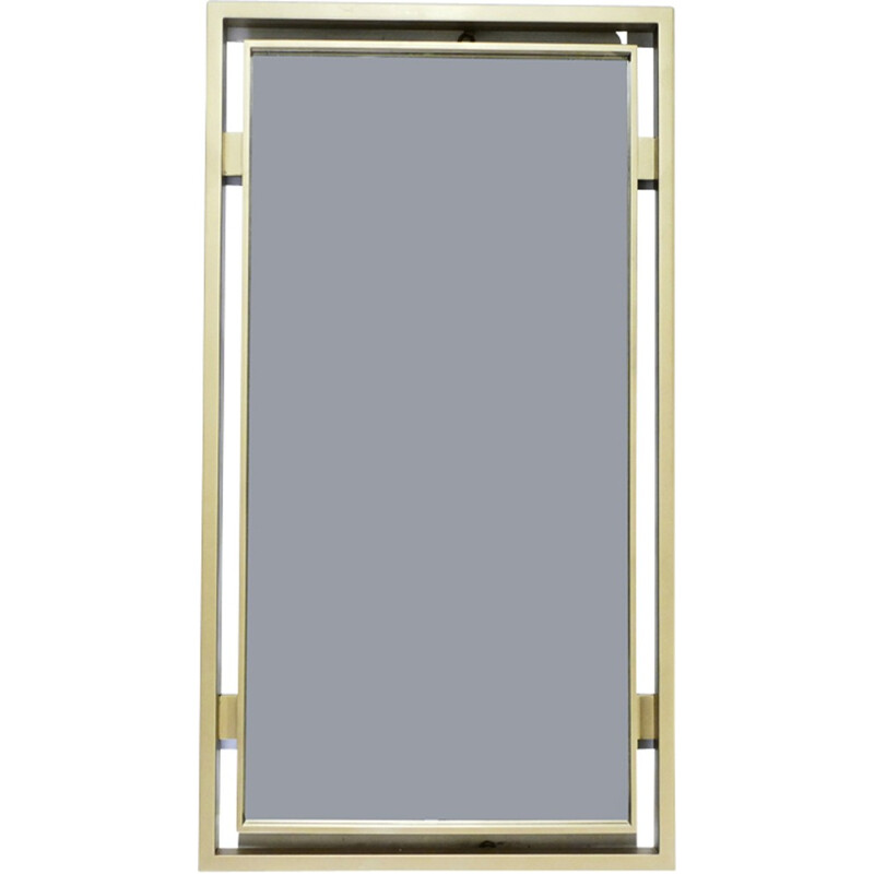 Vintage brushed brass mirror by Guy Lefevre for Maison Jansen - 1970s