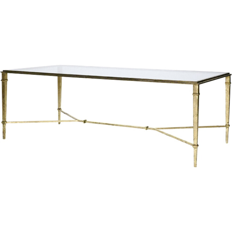 Vintage coffee table in golden wrought iron by Robert Thibier - 1960s