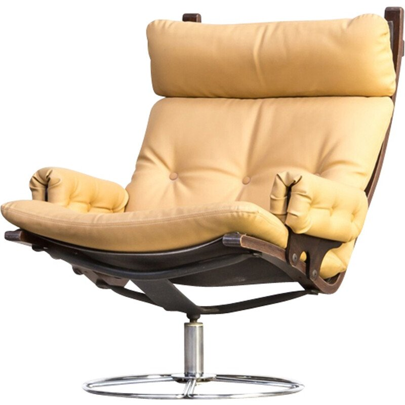 Vintage swivel yellow armchair by Bruno Mathsson for Dux - 1970s