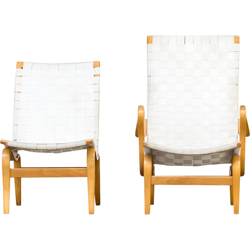 "Set of 2 ""Pernilla"" armchairs by Bruno Mathsson for Dux - 1970s"