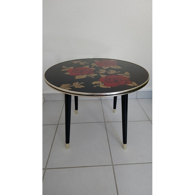 Superb Red Roses Decor French Side Table In Glass 1960S Home Remodeling Inspirations Basidirectenergyitoicom