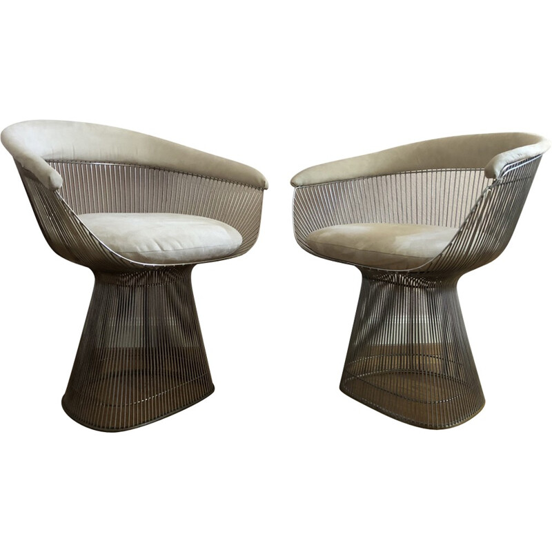 Set of 2 vintage armchairs by Warren Platner for Knoll - 1970s