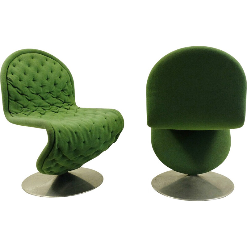 Set of 2 vintage green lounge chairs by Verner Panton - 1970s