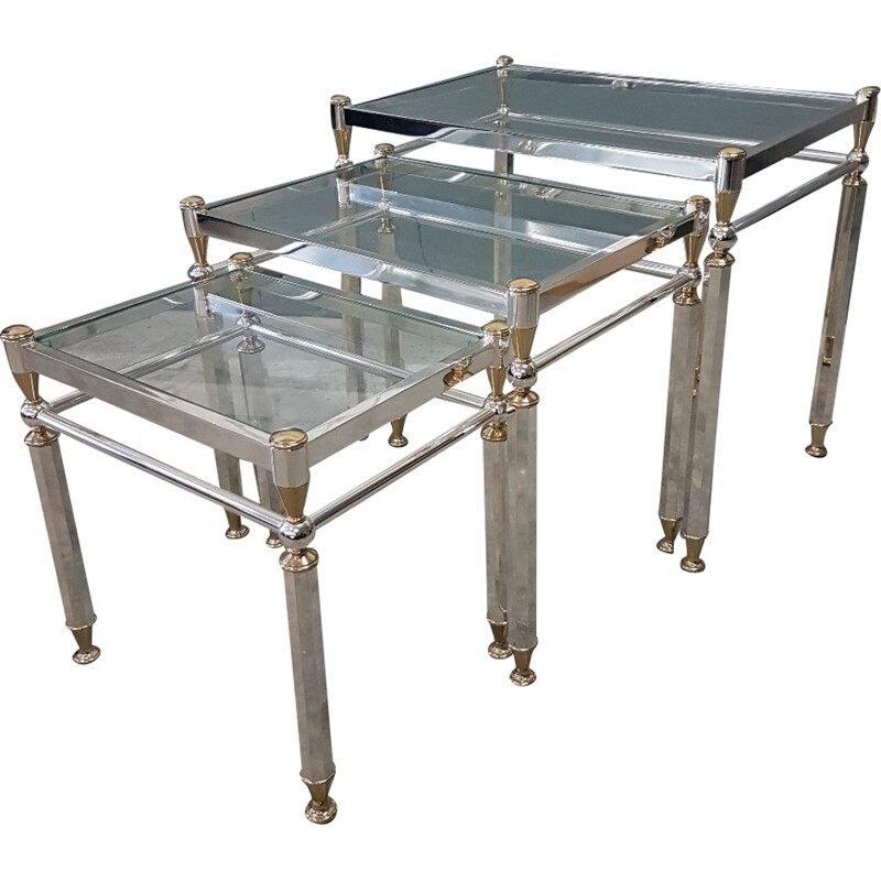 Set of 3 vintage nesting tables in silvered brass - 1980s