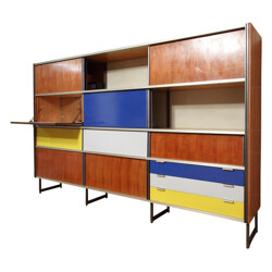 Cupboard in aluminum and rosewood, Georges FRYDMAN - 1950s