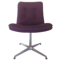 Set of 6 swiveling chairs in aluminum and violet fabric, Geoffrey HARCOURT - 1970s